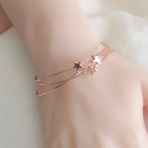 Star Detail Bracelets Cuffs Rose Gold Minimalist